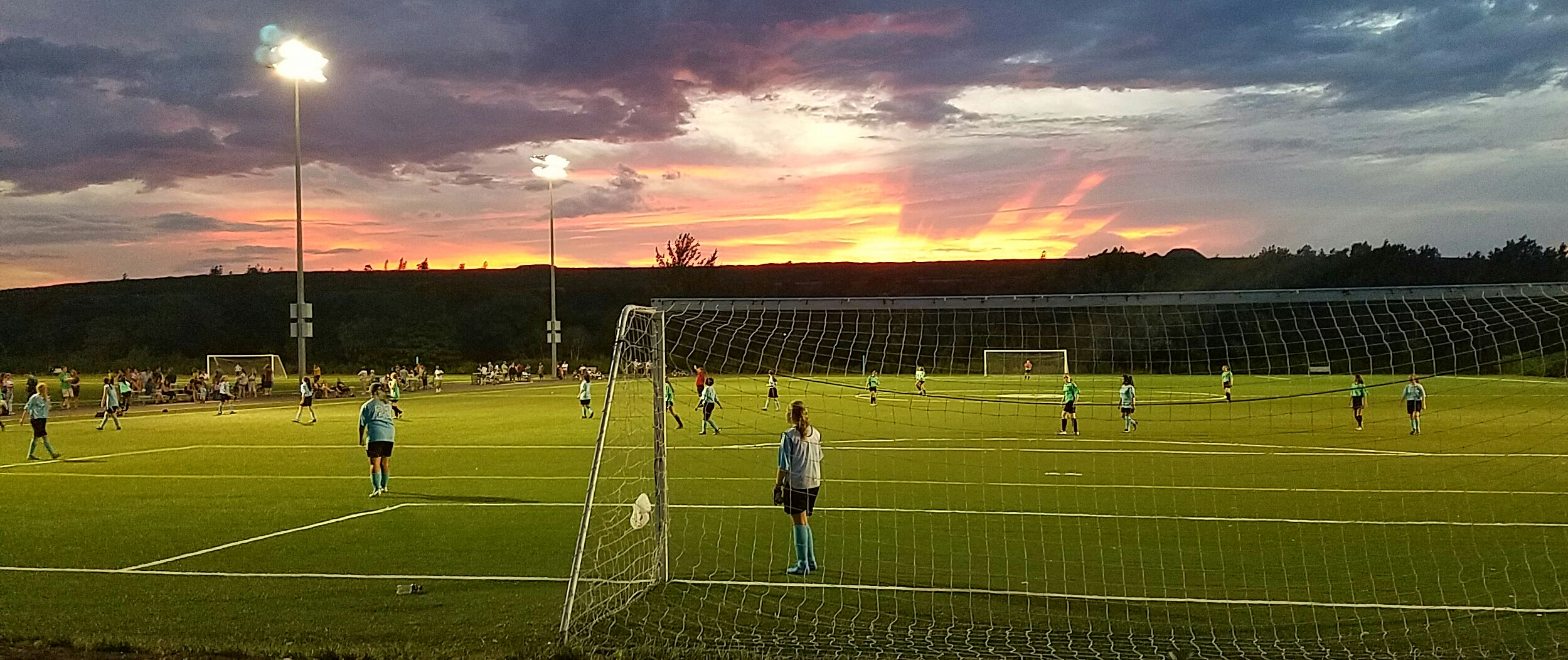 Soccer field owl hollow sunset