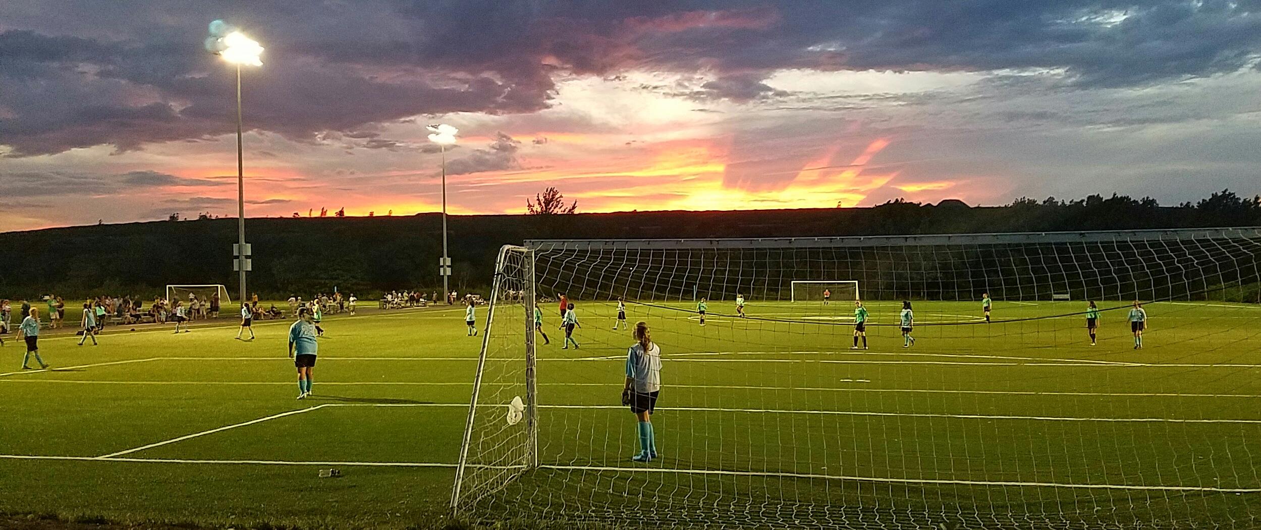 Soccer field owl hollow sunset