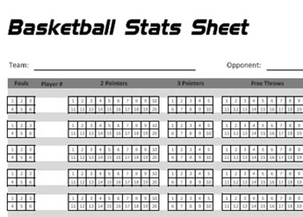 basketball statistics sheet new calendar template site. Black Bedroom Furniture Sets. Home Design Ideas
