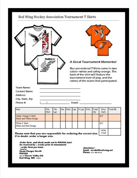 tournament t shirts pre order for extra features