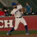 Photo Caption: Rylan Sandoval fields during a home game against the New Jersey Jackals on August 25. He went 4-4 with a run scored and the go-ahead RBI in extra innings. (Photo Credits: Drew Wohl, Rockland Boulders)