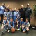 Minneapolis Lakers Boys 5th Grade Blue pose with their first place medals at the Anoka Ramsey Tornado Shootout in Anoka, MN