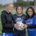St. Michael-Albertville girls' soccer coach Megan Johnson, left, Juliana Zerna, center, and her mother, Cleofa Zerna, right.