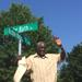 Richie Kates during ceremony unveiling street named after him in Bridgeton.