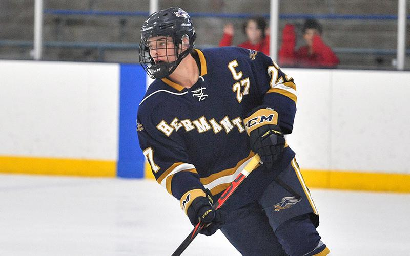 Hermantown's Mr. Hockey candidate Blake Biondi has scored 13 goals in the Hawks' last five games. Biondi and his teammates look to defeat the Crusaders on Friday. Photo by Loren Nelson, LegacyHockeyPhotography.com