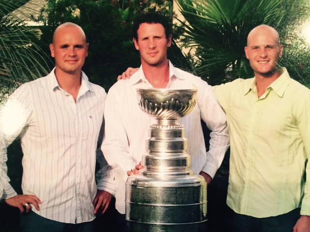 The Pratt brothers (from left to right: Jasen, Nolan and Harlan) celebrate Nolan winning the Stanley Cup with the Tampa Bay Lightning in 2004.