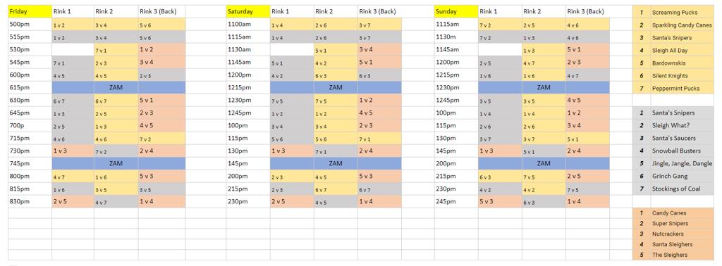 Deke The Halls Schedule
