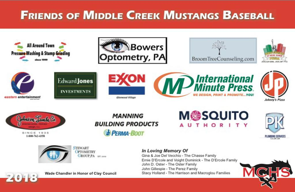 collage of sponsors for middle creek baseball