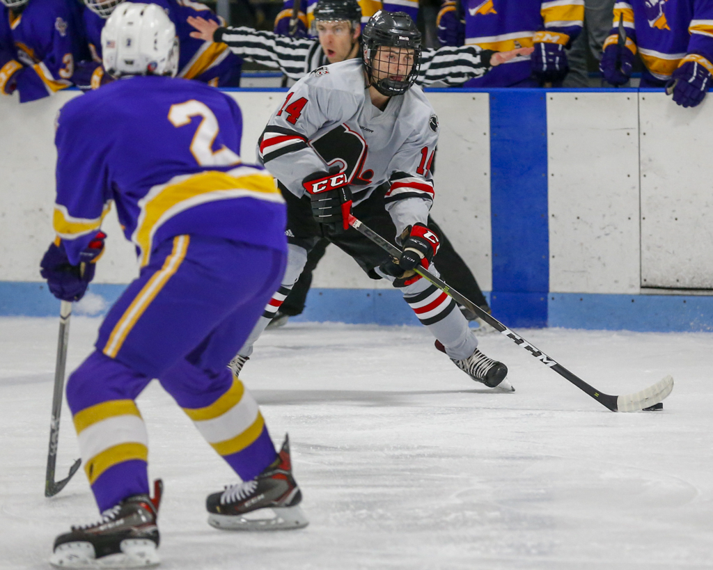 Lakeville North senior Spencer Schneider scored two goals against Cloquet-Esko-Carlton Friday afternoon. The Panthers defeated the Lumberjacks 3-2 in overtime. Photo by Jeff Lawler, SportsEngine