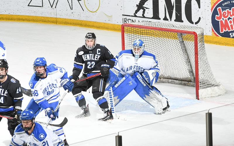 Goalie Alex Schilling (shown in net) hadn't made a start for Air Force prior to the 2019-20 season but was selected the team MVP following his sophomore-year campaign.