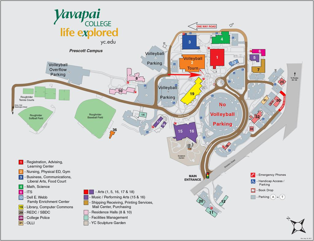 Yavapai College Parking Map for 4/20/19 Tournament