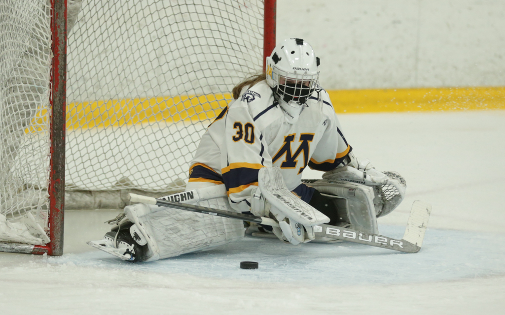 Mahtomedi's Ella Heath (30) makes a pad save against South St. Paul. The Zephyrs fell to the Packers 3-1 Friday night in Stillwater. Photo by Jeff Lawler, SportsEngine