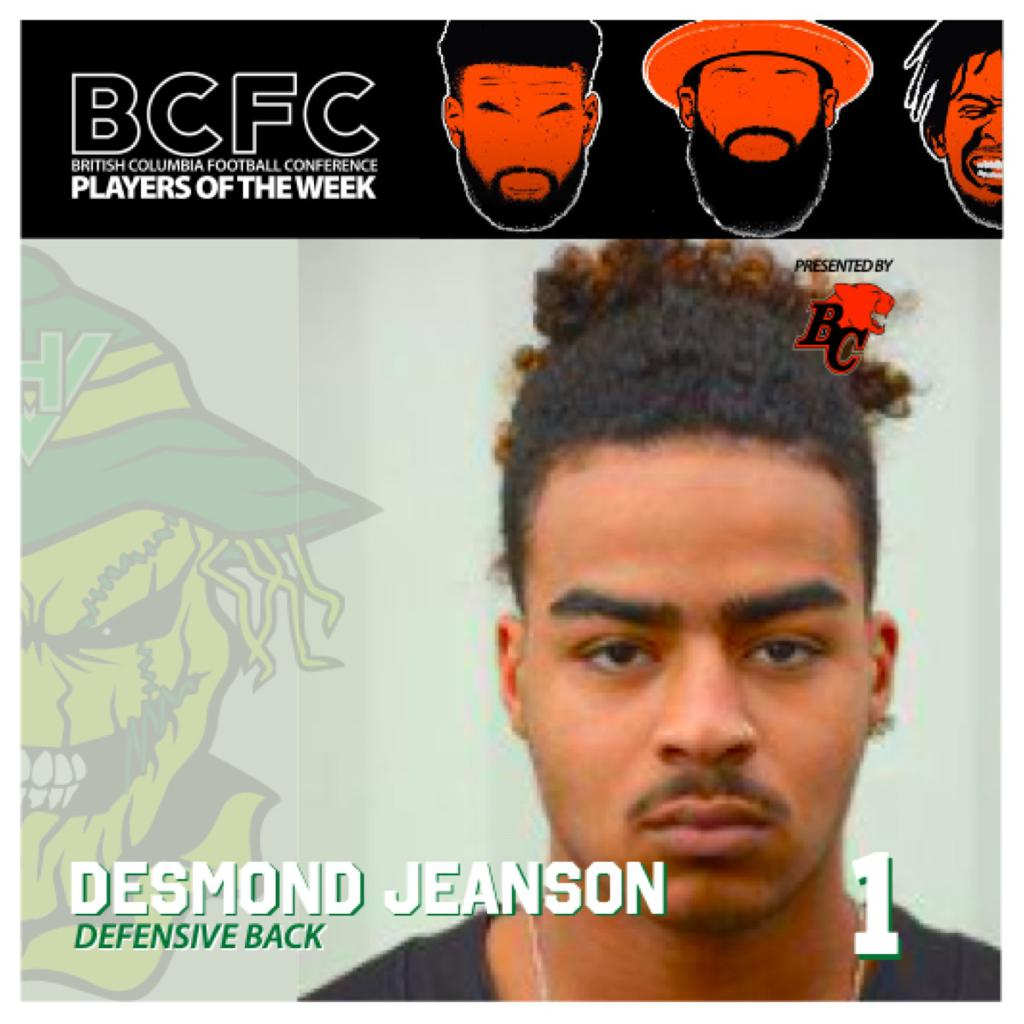 WEEK 1: BCFC Defensive Player Of The Week - Desmond Jeanson, Defensive Back Valley Huskers