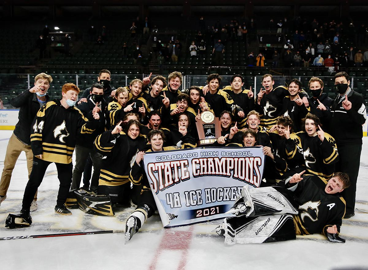 Battle Mountain defeated Crested Butte 5-4 in overtime Thursday to win its first ice hockey state championship in program history. Photo by Steven Robinson, SportsEngine
