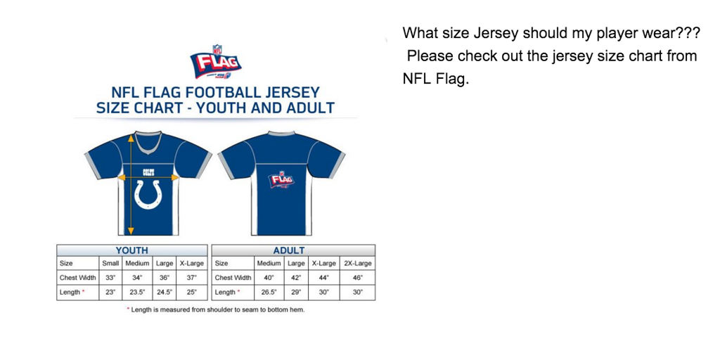 football jersey measurements