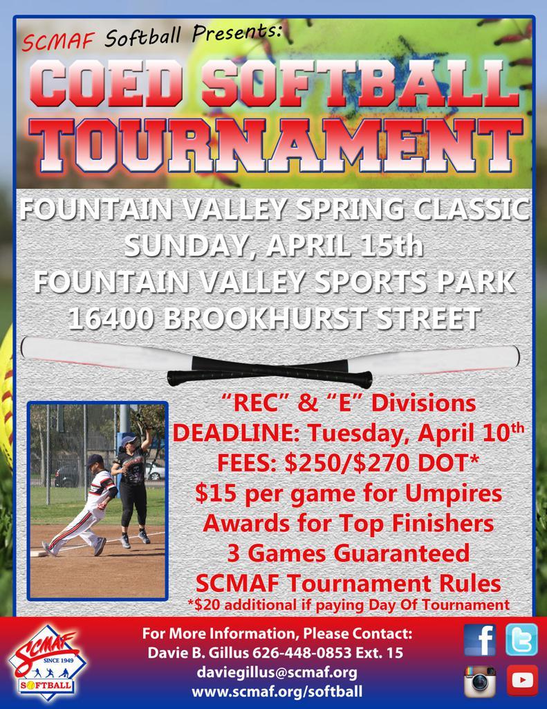 Men & COED Softball: Fountain Valley Spring Classic