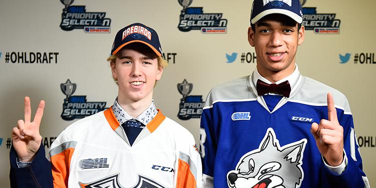 Evan Vierling (left) and Quinton Byfield (right) were the top two picks in the OHL Draft.