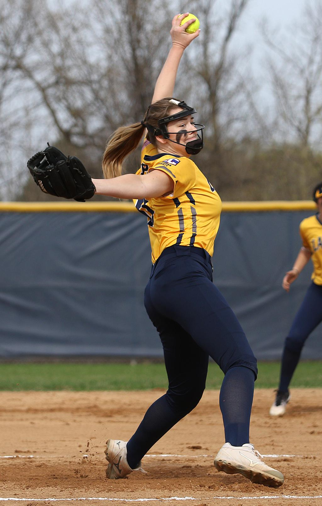 Prior Lake's Kailey Ahlstrom earned a complete-game shutout against conference rival Farmington. The Lakers eased past the Tigers 4-0 on Wednesday night at Prior Lake High School. Photo by Cheryl Myers, SportsEngine
