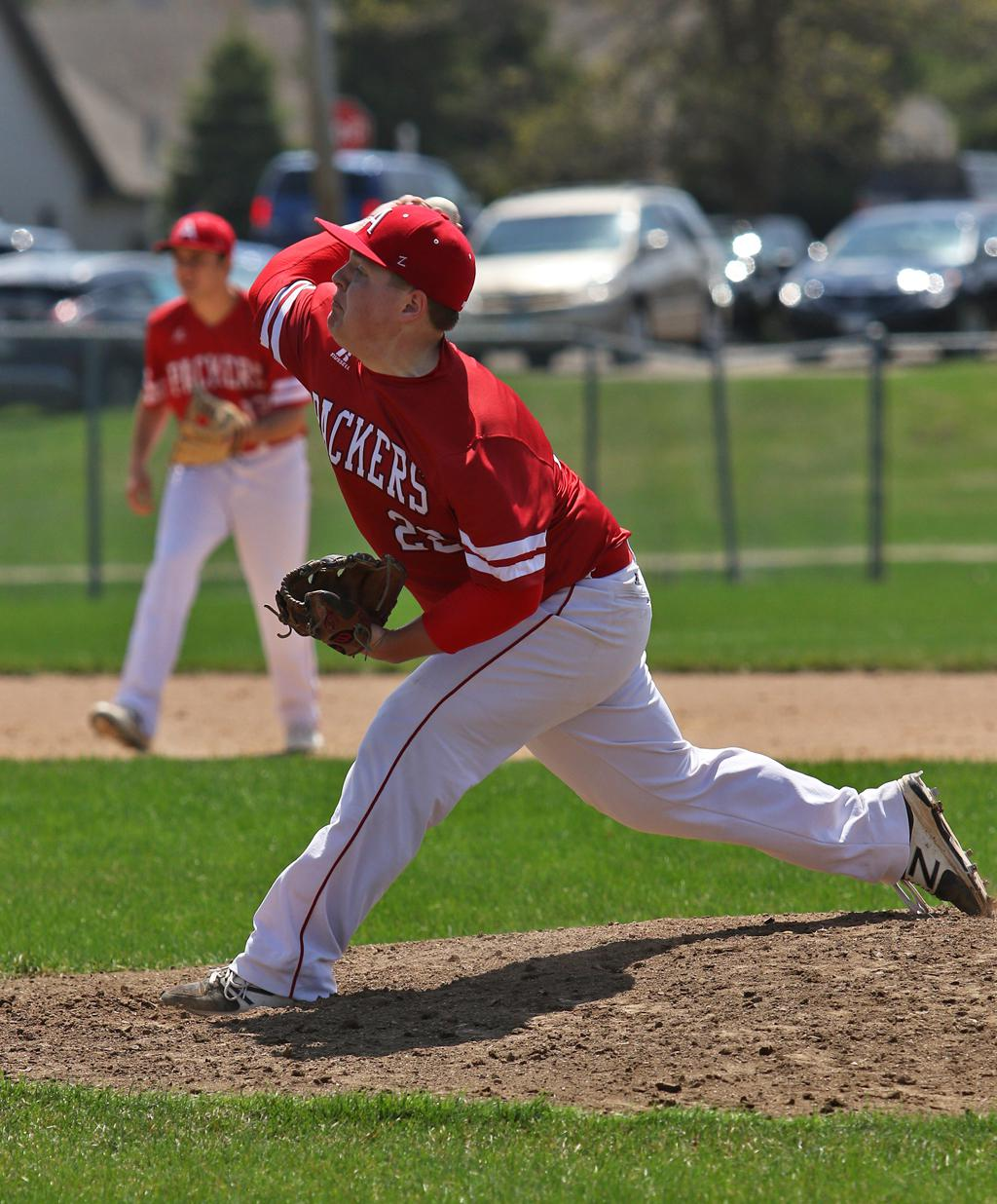 Michael O'Connor struck out nine batters in the Packers' 3-1 win over the Raiders at Northfield High School. Photo by Cheryl Myers, SportsEngine