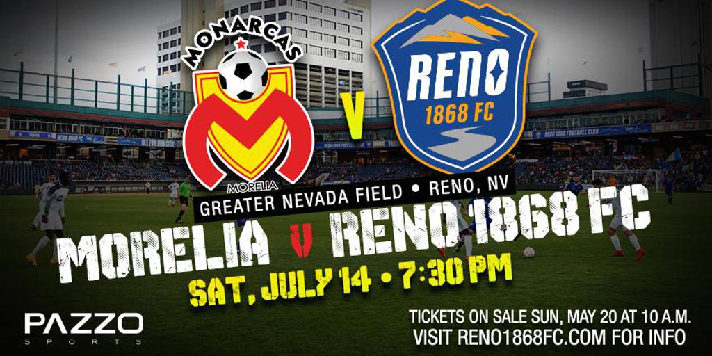 Reno 1868 FC To Host Monarcas Morelia on July 14 at Greater