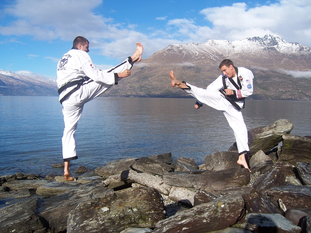 Kicking at Lake Whakatipu, New Zealand