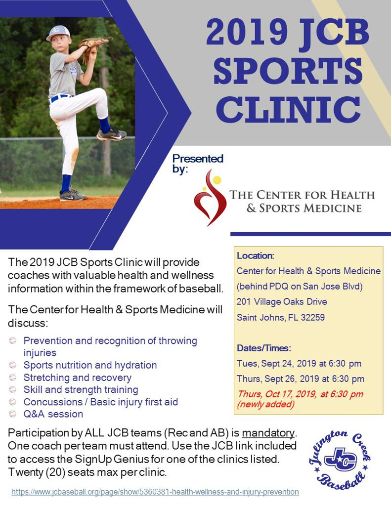 JCB Sports Clinic Flyer