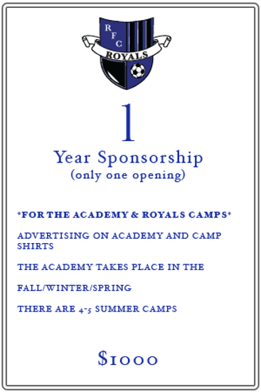 1 Year Academy and Camps Sponsorship Information