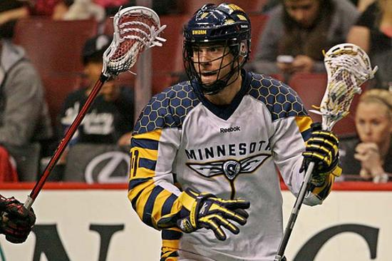 Kevin Ross in action in 2012 with the Minnesota Swarm. Ross was traded to the Wings on Thursday.