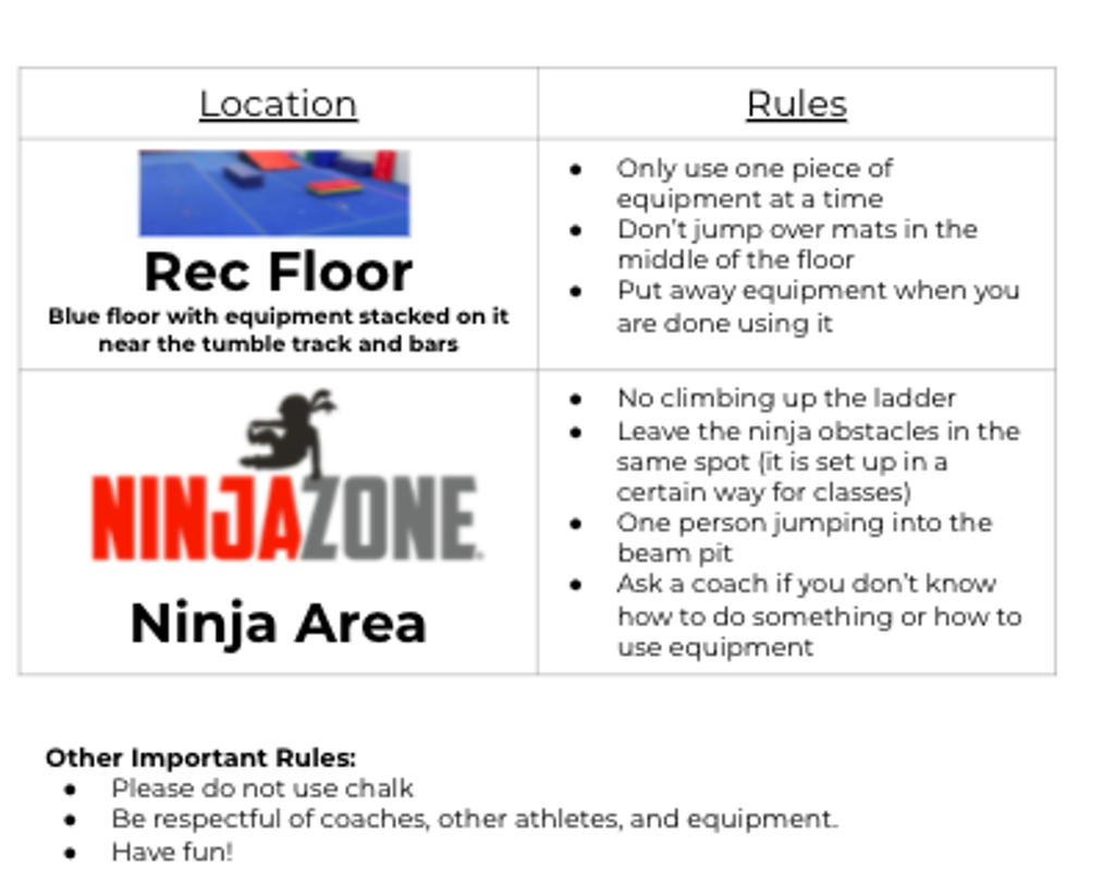 Sensory Friendly Open Gym guidelines