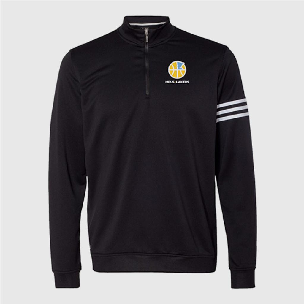Men's Adidas Black 1/4 Zip with embroidered logo