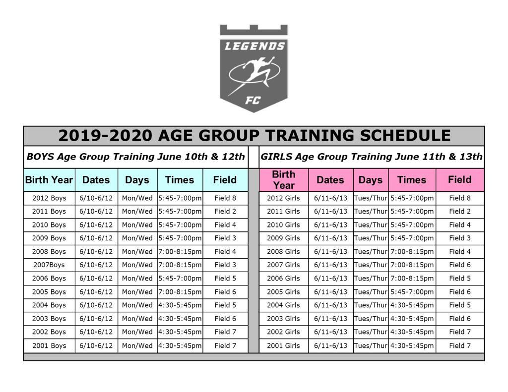 Legends FC Open Training Schedule