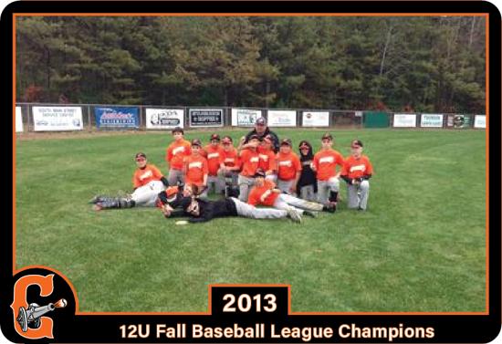 2013 Concord Cannons 12U Fall Baseball League Champions
