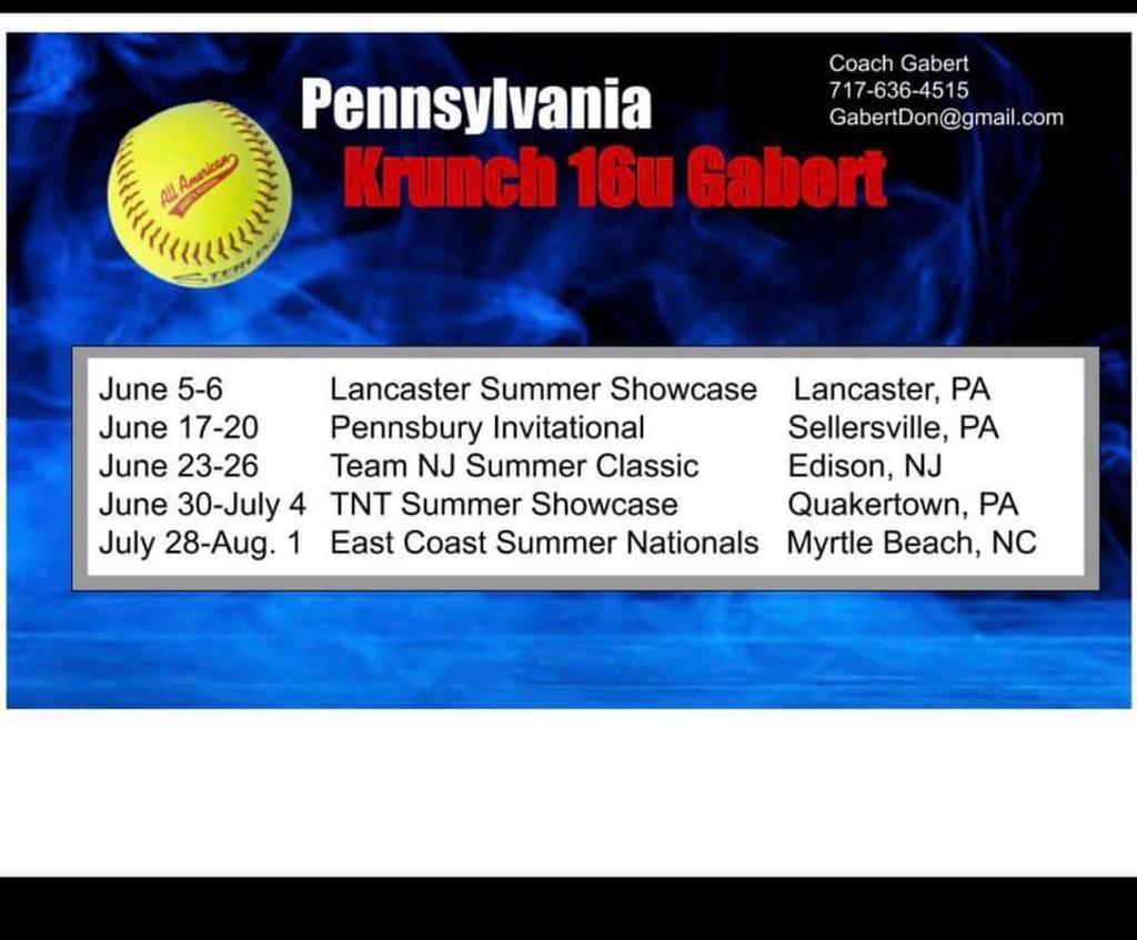 Krunch 16 U Gabert 2021 Summer Showcase Schedule