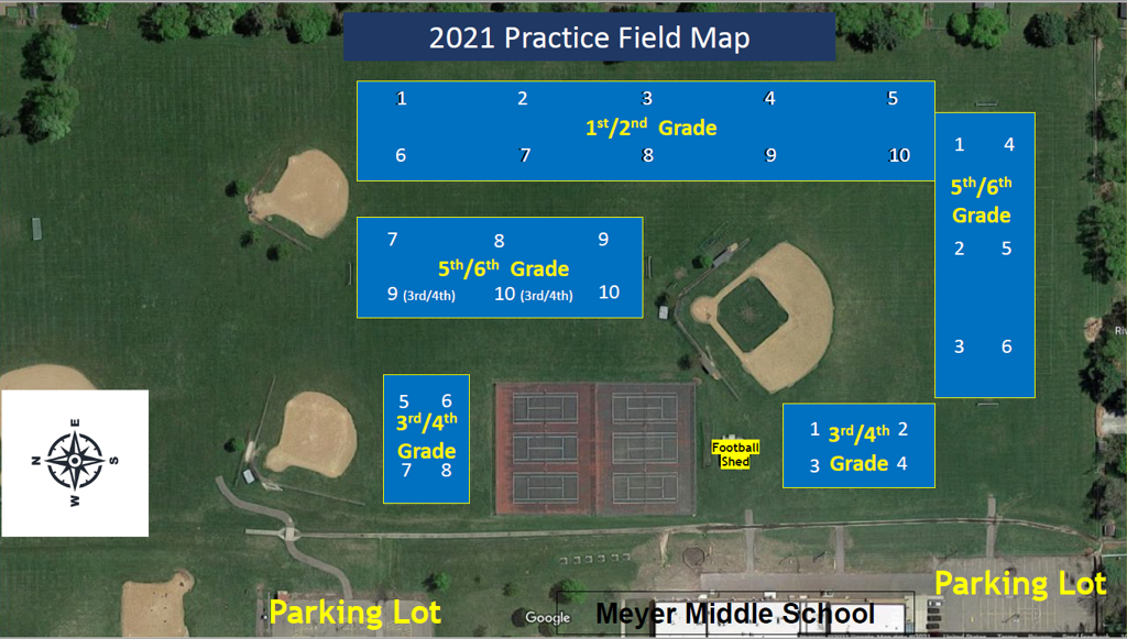 Practice Field Map for Tuesdays and Thursdays