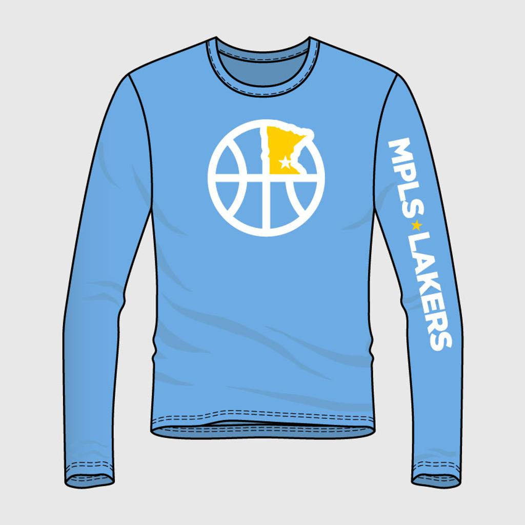 Blue shooting shirt with logo and text on front