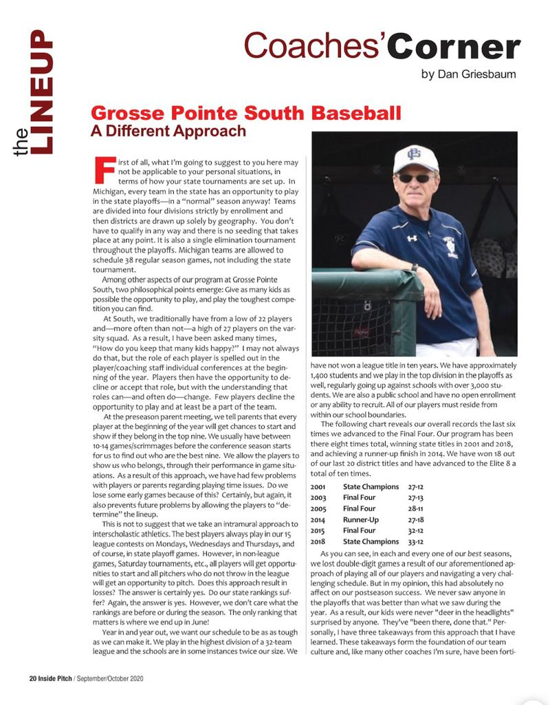 Recent article from the American Baseball Coaches Association