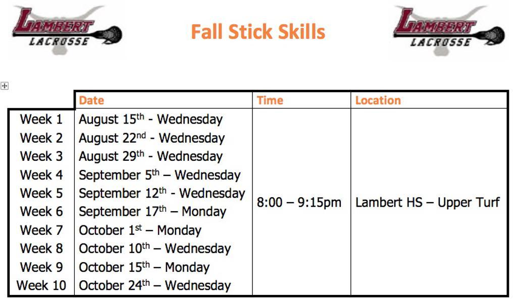 Weekly Stick Skills Schedule