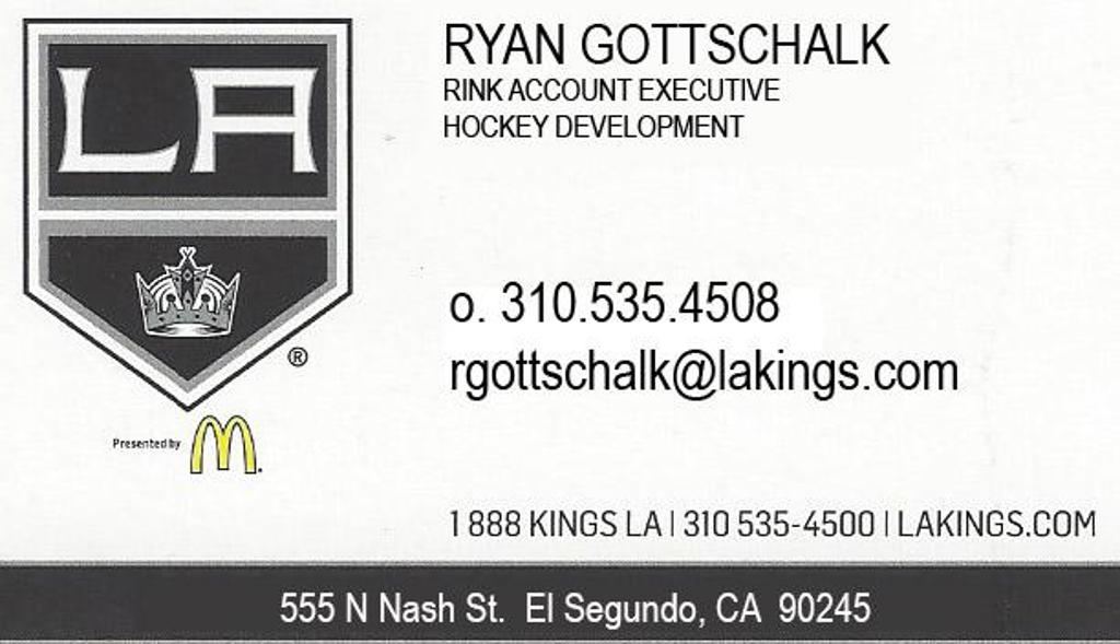 Ice Angeles Hockey Leagues connection to LA Kings tickets and events is with Ryan Gottschalk. Contact Ryanfor your LA Kings ticket needs at 310.535.4508or rgottschalk@lakings.com