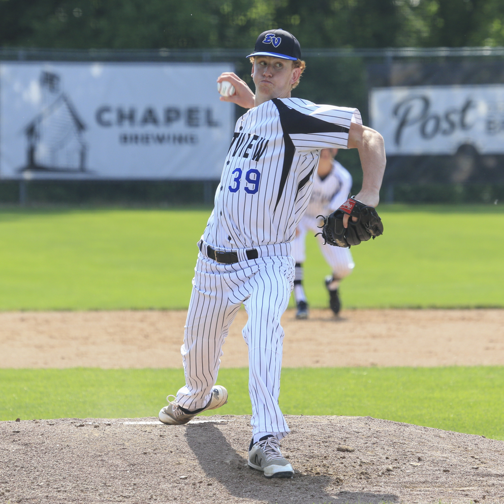 Eastview senior Ryan Fering throws to an Apple Valley batter Wednesday afternoon in the Class 4A, Section 3 Championship. The Lightning defeated the Eagles 3-2 at Memorial Park in Dundas. Photo by Jeff Lawler, SportsEngine