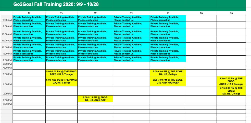 Go2Goal Fall Schedule