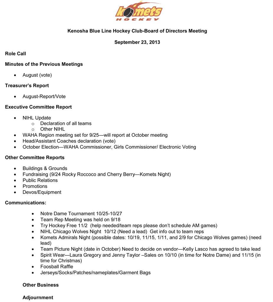 September Board Of Directors Meeting Monday 9 23