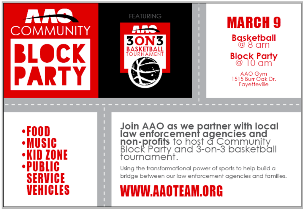 AAO Community Block Party and 3 on 3 Basketball Tournament, Saturday, March 9