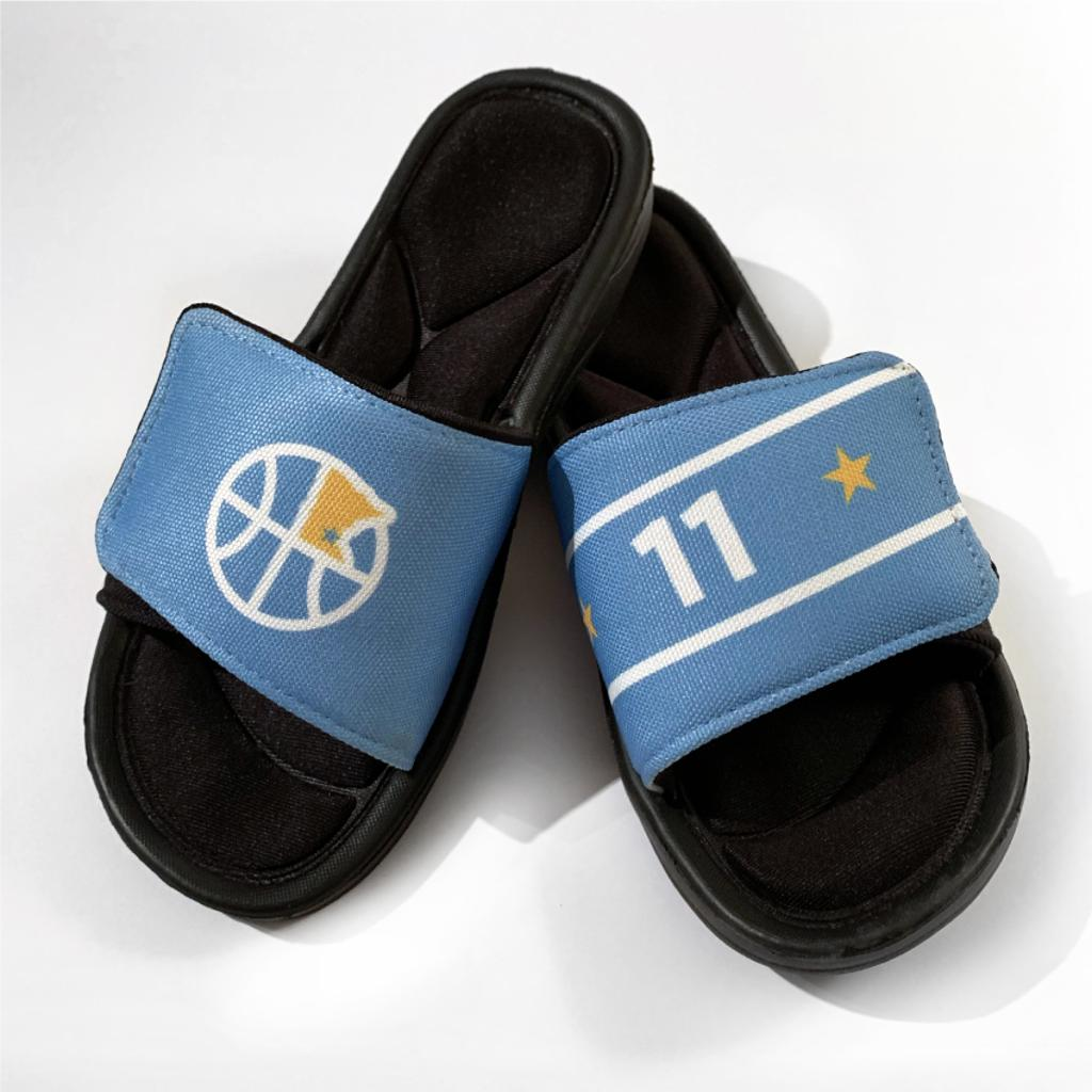 Customizeable Slides/Flip Flops, logo on Left foot and player number or initials on RIght foot