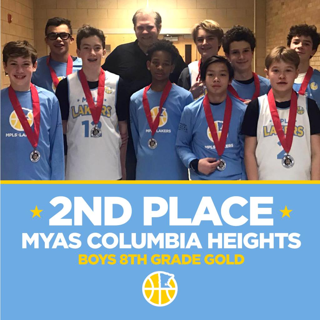Boys 8th Grade Gold pose with their hardware after taking 2nd Place at MYAS Columbia Heights