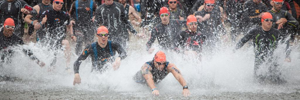 Swimmers at IRONMAN 70.3 Connecticut