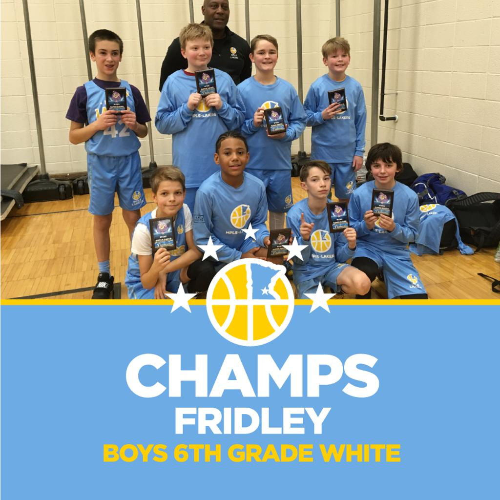Boys 6th Grade White pose with their hardware after taking 1st at Fridley