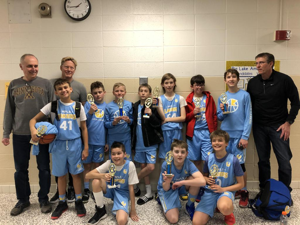 Mpls Lakers Youth Traveling Basketball Program Inc Boys 6th Grade Black pose with their Trophies after placing 2nd at the Big Lake Hornet hoops Classic tournament in Big Lake, MN