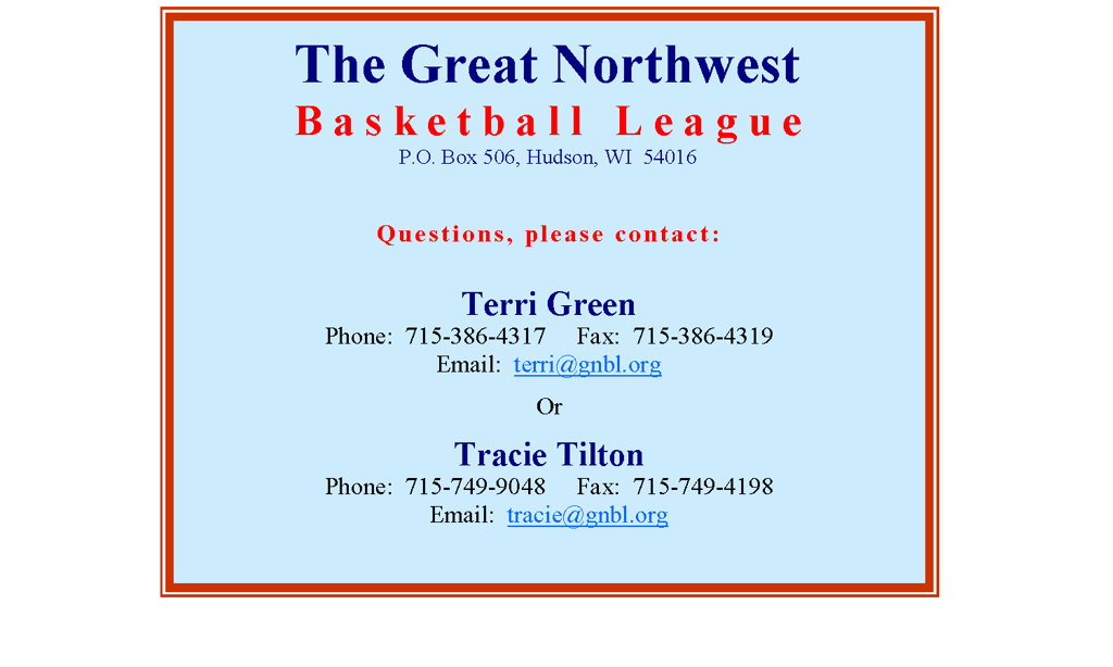 Terms Of Use >> Great Northwest Basketball League (GNBL)