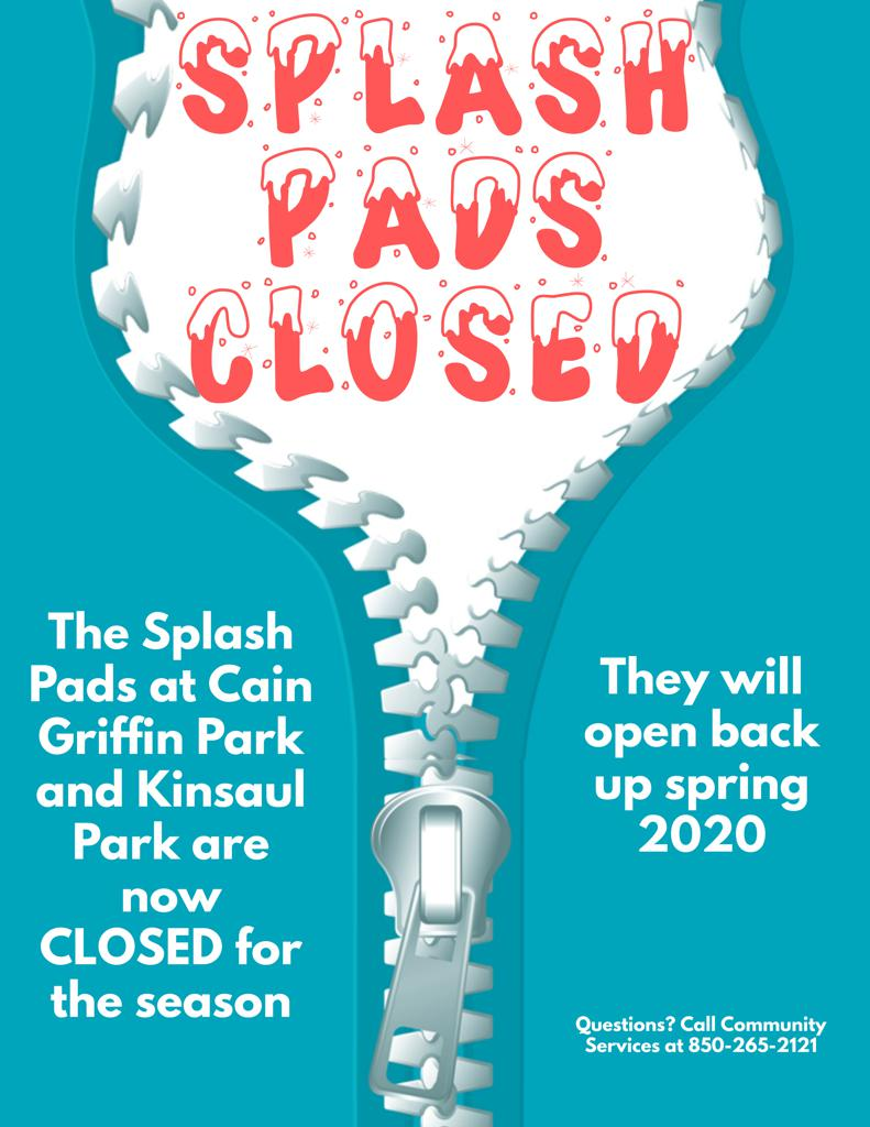 Splash Pads closed for the winter