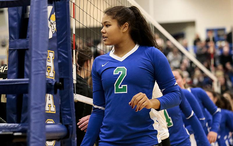 Kennedi Orr (2), a Nebraska commit who missed her senior season due to injury, played five years for the Wildcats varsity and was picked the 2020 Ms. Baden Volleyball winner late last week. Photo by Cheryl A. Myers, SportsEngine